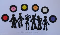 6 dancing edible DISCO People & 12 RECORDS music vinyl hippy cake topper 70's dancer  cupcake topper decoration cake wedding party wedding birthday engagement baby shower by cookiecookieyumyum - $24.00 Disco Theme Parties, Disco Party, Party Themes, Edible Cake Toppers, Cupcake Toppers, Hippie Cake, Wedding Cupcakes, Cake Wedding, Party Wedding