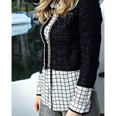 holiday style black white and gold boucle jacket windowpane check top