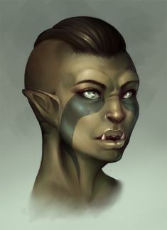 Orc female (Green replaced with the full range of human skin tones ...