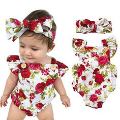 baby rompers   Feel Show Baby Floral Print Ruffles Rompers Newborn Infant Baby Girls Jumpsuit With Headband