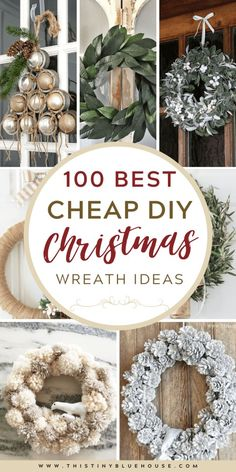 get your front door ready for the holidays with this ultimate collection of best cheap DIY Christmas Wreaths. With over 100 BEST holiday wreaths to choose from you're guaranteed to have the most festive door on the block. Dollar Tree Christmas, Cheap Christmas, Homemade Christmas, Simple Christmas, Christmas Holidays, Christmas Wreaths, Vintage Christmas, Christmas Ornaments, Outside Christmas Decorations