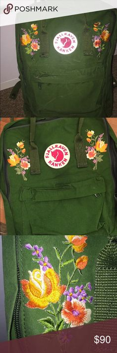 -FLASH SALE- Unique Green Kanken Floral Patches!! HELLO❤ I bought this bag just about one week ago to replace my aging red kanken. i thought green would do it for me, but red is my roots! nowadays everyone and their mother has this bag, but, with these floral details, yours will be totally unique ;)) used for two days in disneyland plus two days out and about Urban Outfitters Bags Backpacks