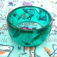 Vintage Bakelite - 1940s INSANELY Rare Teal Blue Prystal Carved Catalin Bakelite Bangle Bracelet
