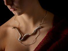 Linda van Niekerk Neckpiece: Water Snake Adrift, 2016 Tasmanian wilderness driftwood, sterling silver,  silk Photo by: Peter Whyte Photography © By the author. Read Klimt02.net Copyright.