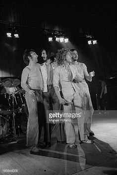 English rock group The Who on stage October 1973 Left to right drummer Keith Moon bassist John Entwistle singer Roger Daltrey and guitarist Pete...