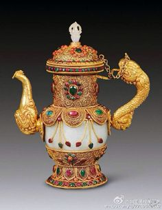 Antique: Traditional Chinese gold censor with jade body