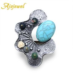 Ajojewel Unique Design Brooches Pins Brand Natural Stone Vintage Brooch For  Women Resin Flower Scarf Clip 486bdb25777e