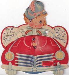 Vintage Valentine with girl in a jaunty hat driving a convertible.
