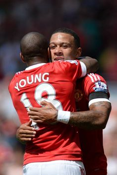 Ashley Young and Memphis Depay Ashley Young, Memphis Depay, Manchester United, The Unit, Sports, Red, Hs Sports, Man United, Sport
