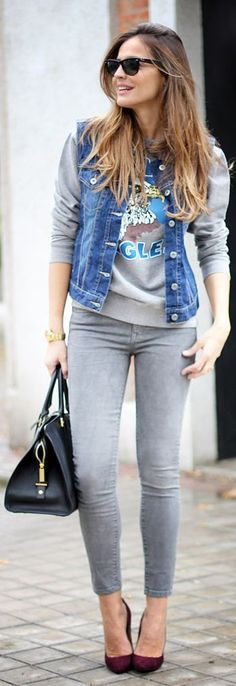 perfect outfits with jean jackets tumblr 12