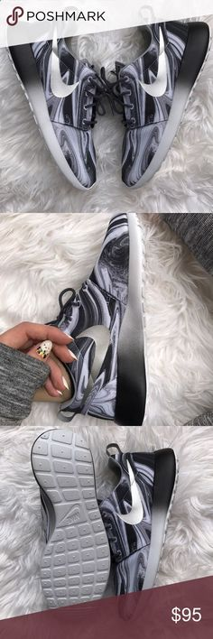 NWT Nike id roshe marble ombré Brand new no box!no trades!price is firm!!custom made silver swoosh ombré Nike roshe size 7 mens ,womens 8.5 Gear up for the day with the versatile style of the Nike® Womens Roshe One fashion sneaker. This causal shoe features a mesh upper for great breathability and a Solarsoft sockliner for all-day comfort. The injected Phylon midsole provides you with lightweight cushioning, while the padded collar supports the ankle. Nike Shoes Sneakers