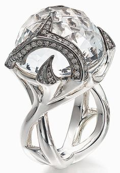 Stephen Webster's fierce Rapture ring in sterling with clear quartz stone and white-diamond pavé