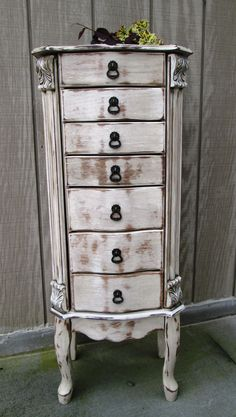 Shabby Chic Antique White Distressed – Jewelry Armoire Pink lining