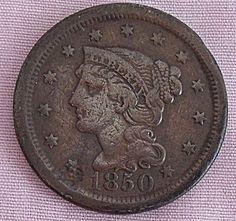 1850 U.S. LARGE CENT PENNY VF DETAILS