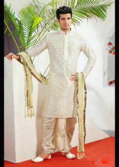 Cream Kurta Pajama In Dupion . Shop at -  www.gravity-fashion.com/15769-cream-kurta-pajama-in-dupion.html