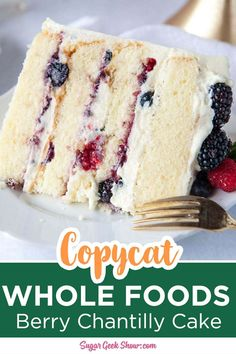 Berry Chantilly cake made with tender layers of vanilla cake, fresh berries, and fluffy whipped mascarpone frosting. The perfect summer cake! Köstliche Desserts, Delicious Desserts, Dessert Recipes, Berry Chantilly Cake, Chantilly Cream, Chantilly Cake Icing Recipe, Hawaiian Chantilly Cake Recipe, Baking Recipes, Whole Food Recipes