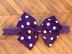 Child and Infant Purple Polka Dot Headband, Purple Hair Accessories, Purple Bows, White Polka Dot Hair Bow, Ruffled Hair Bows, Infant Headba by SunshineandBling on Etsy