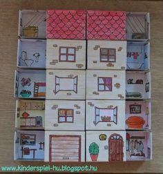 Kinderspiel: Streichholzschachtel Haus-letölthető sablonnal