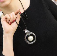 Circles simulated pearl ball pendant long necklace women black chain   sheerbliss  bestoftheday  fashion c7db66708955