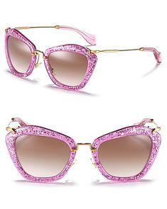 Miu Miu Vintage Matte Glitter Cat Eye Sunglasses - Jewelry & Accessories - Bloomingdale's