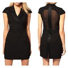 Panache Apparel: Black Short Cap Sleeve Satin Strap Backless See Through Dress