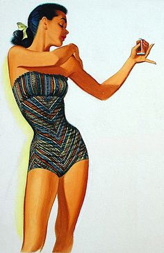 From one of Pete Hawley's Jantzen Swimsuit ads, '40s and '50s.