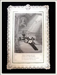 """ANTIQUE 1870's SPANISH """" THE CROSS & BED OF MARY's DAUGHTER """" LACE HOLY  $50 CARD !!!"""