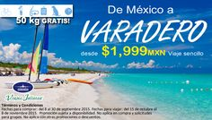 Viaja de #México a #Varadero #Cuba desde $1,999 MXN con 50 kg #Gratis de equipaje.  Fechas para comprar: del 8 al 30 de septiembre 2015. Fechas para viajar: del 15 de octubre al 8 de noviembre 2015. Promoción sujeta a disponibilidad. No aplica en compra y solicitudes para grupos. No aplica con otras promociones o descuentos.  Reserva al 01 (951) 501 56 56 Calle Murguía 500-A, Centro, Oaxaca.