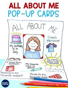 5 Fun Favorite Activites for the First Week of School - Around the Kampfire All About Me pop up cards - An easy, no prep back to school activity for getting to know you! Get To Know You Activities, All About Me Activities, First Day Of School Activities, Learning Activities, Activities For Kids, Teaching Ideas, Culture Activities, Counseling Activities, Montessori Activities