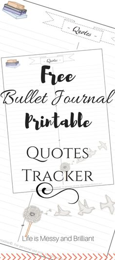 FREE Bullet Journal Printable: Quotes Tracker
