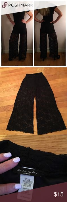 LACE PALAZZO PANTS Size medium with a built in black boy short for privacy. A fun party piece. Pants Wide Leg