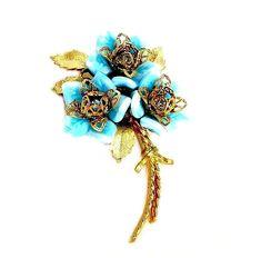 CoroCraft Aqua Blue Glass Flower Figural Brooch by AgedandOpulentJewels on Etsy