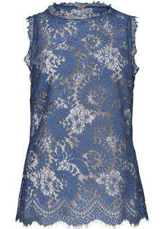 Mørkeblå blondetop 23601 Gustav Halter Neck Lace Top - water