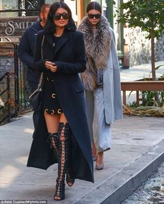 Kylie and Kendall take New York! Jenner sisters turn heads in kinky boots and fur as they head to lunch | Daily Mail Online