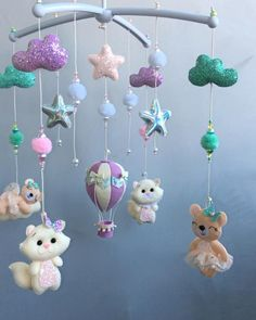 Baby Room Decor, Nursery Decor, Baby Shower Greeting Cards, Expecting Mom Gifts, Baby Mobiles, Girl Cribs, Hanging Mobile, Felt Cat, Felt Toys