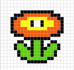 tutorial y patron de como hacer una flor de mario con hama beads. Tutorial on how to make a fire flower with hama beads.