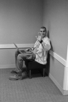 Henry Rollins Stealing someones WiFi - photo: Grant Hatfield
