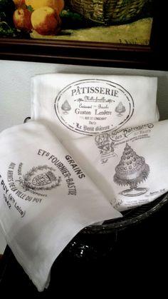 French FlourSack Tea Towels Cotton Kitchen by FilthyRichDesigns, $21.00