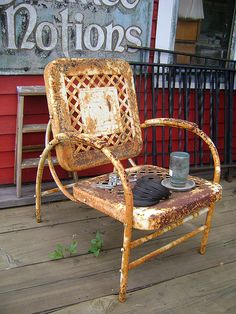 Vintage Lawn Chair with rust