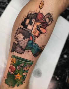 This Mario themed tattoo is super cool looking! This Mario themed tattoo is super cool looking! Tattoo Geek, Gamer Tattoos, Anime Tattoos, Body Art Tattoos, Tattoo Drawings, Sleeve Tattoos, Tatoos, Tattoos Masculinas, Marvel Tattoos