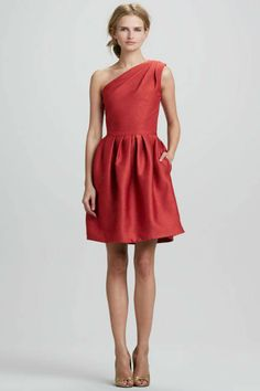 Wear to a Fall wedding- Rust the design on this one is genius, very forgiving, love the way the soft pleats/ gatherings at the waist is done. Plus the one shoulder look can be worn by any size with this design. Would love to see it in more jewel tone colors. Halston heritage at bergdorfgoodman.com