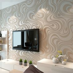 Modern Luxury Abstract Curves Glitter Non-woven Textured Wallpaper For Bedroom Living Room TV Backdrop Wall Murals Cream White One Roll 3d Wallpaper Roll, Striped Wallpaper, Modern Wallpaper, Wall Wallpaper, Damask Wallpaper, Living Room Wallpaper Gold, Bedroom Wallpaper, Textured Wallpaper, Designer Wallpaper