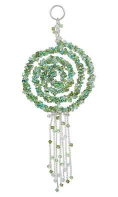 Jewelry Design - Suncatcher with Steel Spiral Wire and Swarovski Crystal Beads - Fire Mountain Gems and Beads