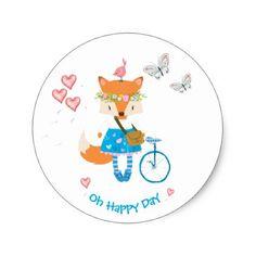 Little Fox - Oh Happy Day - Round Stickers - kids stickers gift idea diy decor birthday sticker children christmas gifts presents