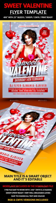 Sweet Valentine Flyer Template — Photoshop PSD #modern #vals day flyer template • Available here → https://graphicriver.net/item/sweet-valentine-flyer-template/14426396?ref=pxcr