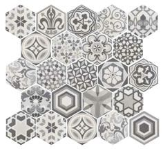 statement floor or backsplash hexagon tiles in kitchen. On its own or mix with other colors
