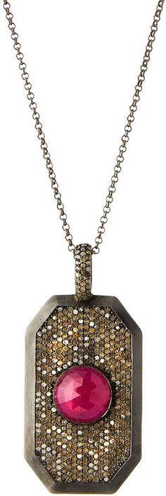 Bavna Pave Diamond & Composite Ruby Pendant Necklace
