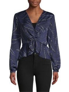 Bcbgeneration Long-sleeve Twist-front Top In Twilight Blue Twist Front Top, Bcbgeneration, Twilight, Blouse, Long Sleeve, Clothes, Collection, Shopping, Tops