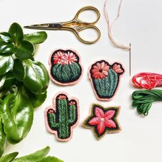 Defne Gunturkun -  cacti embroidery