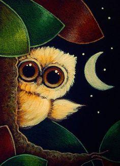 Art: TINY ORANGE OWL 1ST AUTUMN LEAVES by Artist Cyra R. Cancel